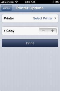 Select Printer Screen Shot