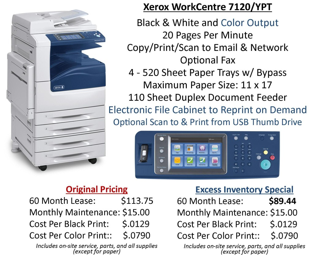 WorkCentre 7120 Excess Inventory Special 9.27.13
