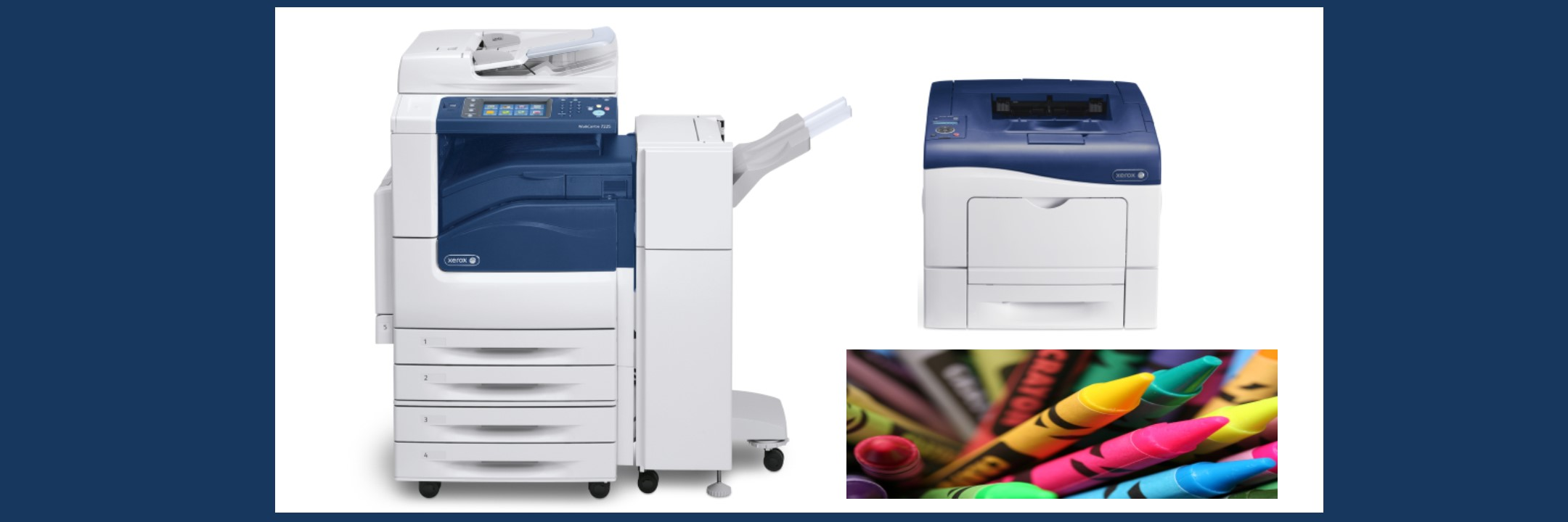 Printers with a sample printed colored crayon picture