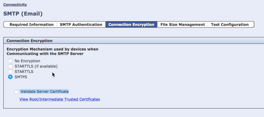 Validate Server Certificate in Scan to Email