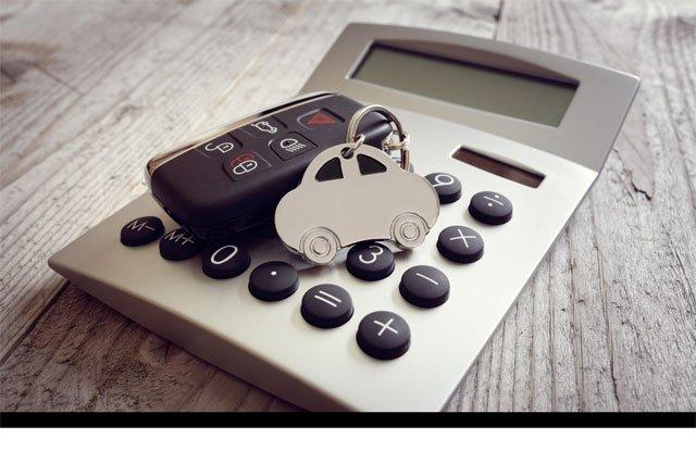 calculator and car key